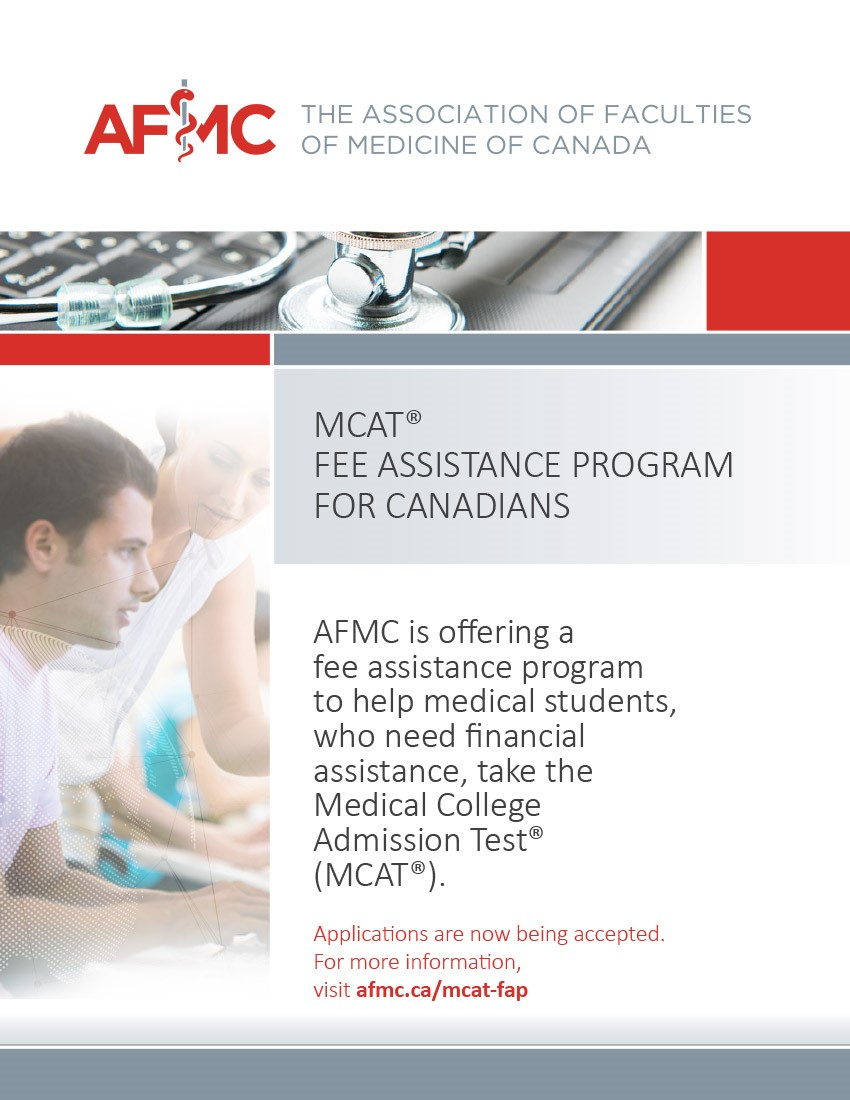 MCAT fee assistance program brochure - person helping another on the computer with program information beside it